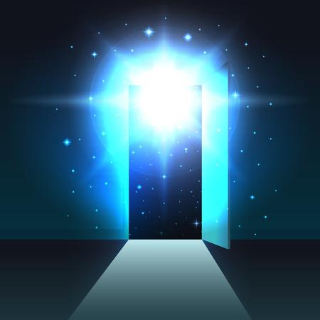 Mystical light from the open door of a dark room, background, open door template, abstract glowing exit, mock up 向量圖像
