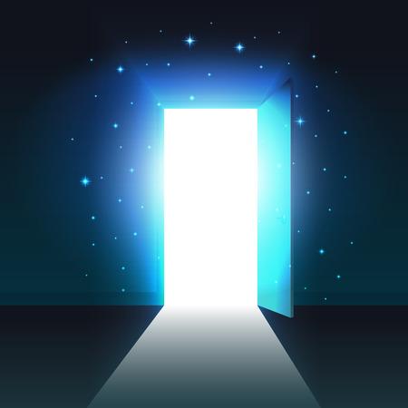 Licht von der offenen Tür eines dunklen Raumes, abstrakter mystischer leuchtender Ausgang, offene Türschablone, Hintergrund, Mock-up