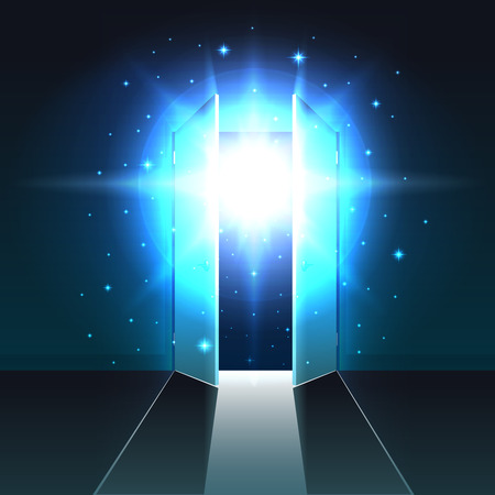Mystical light from the open double door of a dark room, abstract glowing exit, open door background, template, mock up