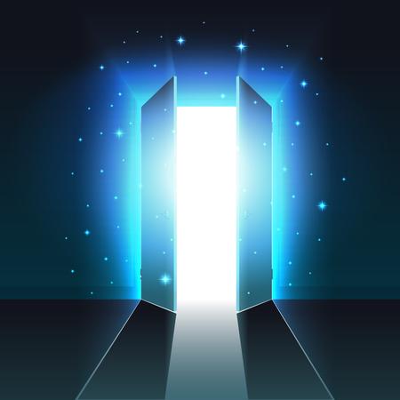 Luce mistica dalla doppia porta aperta di una stanza buia, uscita incandescente astratta, sfondo, modello di porta aperta, mock up Vettoriali