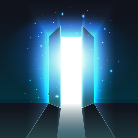 Mystical light from the open double door of a dark room, abstract glowing exit, background, open door template, mock up