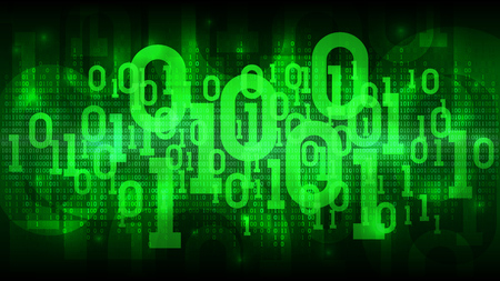 Abstract futuristic cyberspace with binary code, matrix green background with digital code, cloud of big data, well organized layers