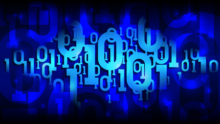 Matrix blue background with binary code, shadow digital code in abstract futuristic cyberspace, cloud of big data, well organized layers