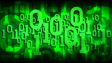 Matrix green background with binary code, shadow digital code in abstract futuristic cyberspace, cloud of big data, well organized layers