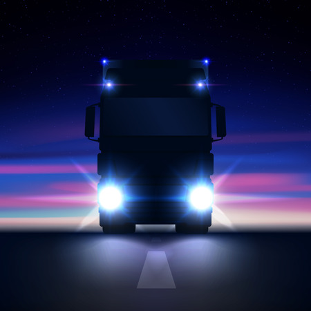 Night silhouette big semi truck with bright headlights and semi riding in the dark on the night road on colorful starry sky background front view, vector illustration Çizim