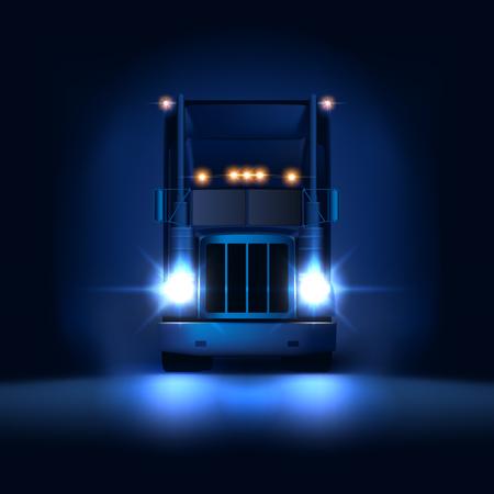 Nocna duża klasyczna ciężarówka z dużą ciężarówką z reflektorami i suchą furgonetką jeżdżącą na tle ciemnej nocy z przodu, ilustracja wektorowa