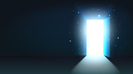 Luce dalla porta aperta di una stanza buia, uscita mistica astratta brillante, sfondo, modello di porta aperta, mock up