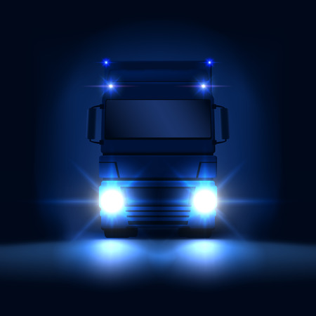 Night big semi truck with bright headlights and dry van semi riding on the dark night background front view, vector illustration
