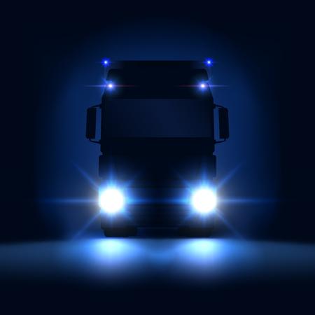 Nachtschattenbild großer Sattelschlepper mit hellen Scheinwerfern und Halbreiten auf dunklem Nachthintergrund, Vorderansicht, Vektorillustration Vektorgrafik