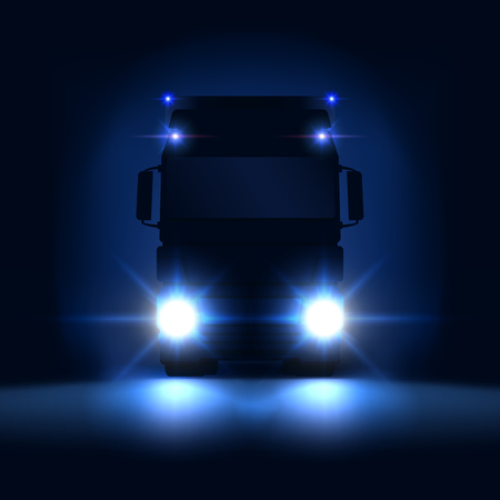 Night silhouette big semi truck with bright headlights and semi riding on the dark night background, front view, vector illustration 矢量图片