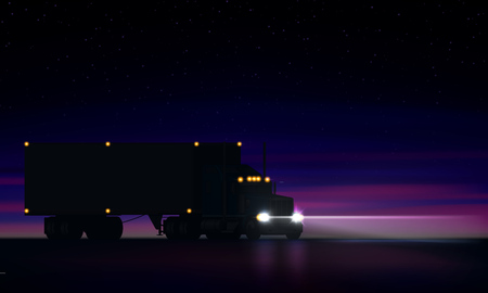 Night large classic big rig semi truck with headlights and dry van semi riding in the dark on the night road on colorful starry sky background, vector illustration Illustration
