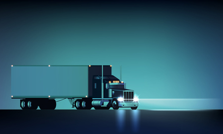 Night large classic big rig semi truck with headlights and dry van semi riding on the night background, vector illustration Çizim