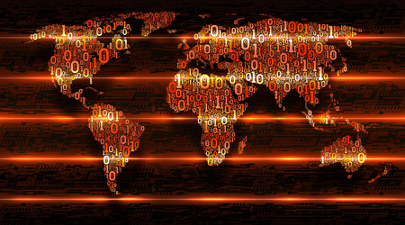 Binary code world map on dark background of abstract electronics. Digital transformation of the world. Concept of internet of things, cloud service, big data, vector illustration