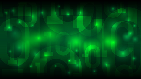 Matrix green background with binary code, digital code in abstract futuristic cyberspace, cloud of big data vector illustration