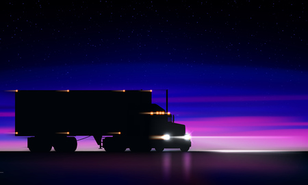 Truck moving on the highway at night. Classic big rig semi truck with headlights and dry van in the dark on the night road on bright starry sky background, vector illustration