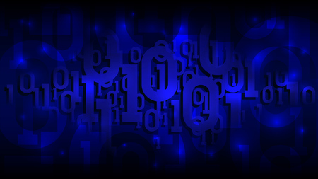 Binary matrix code on a dark blue background, shadow digital code in abstract futuristic cyberspace, artificial intelligence, vector illustration  イラスト・ベクター素材