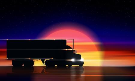 Ciężarówka porusza się po autostradzie o zachodzie słońca. Klasyczna ciężarówka naczepa big rig z reflektorami i suchą furgonetką w ciemności na drodze w nocy na tle kolorowy zachód słońca i gwiaździste niebo, ilustracji wektorowych