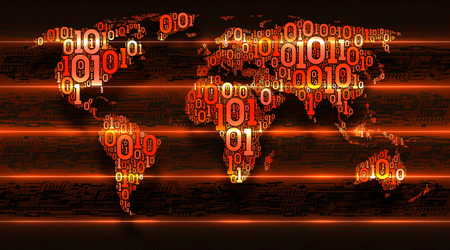 Binary code world map on dark background of abstract circuit boards. Digital transformation of the world. Concept of internet of things, cloud service, big data, vector illustration