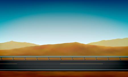 Seitenansicht einer Straße mit Leitplanke, Straßenrand, Wüste mit Sanddünen und klarem Hintergrund des blauen Himmels, Vektorillustration