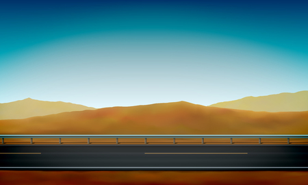 Side view of a road with a crash barrier, roadside, desert with sand dunes and clear blue sky background, vector illustration