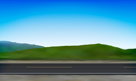 Side view of a road, roadside, green meadow in the hills and clear blue sky background, vector illustration