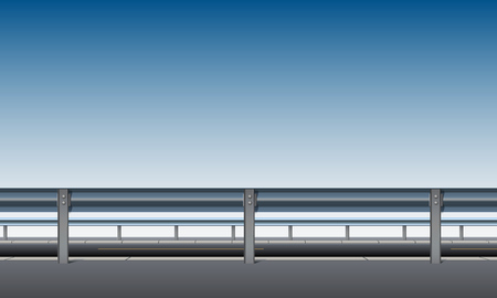 Side view of the overpass, bridge, road with a crash barrier, blue sky background, roadside, vector illustration