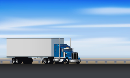Truck rides on the highway. Classic big rig semi truck with dry van on the road, vector illustration