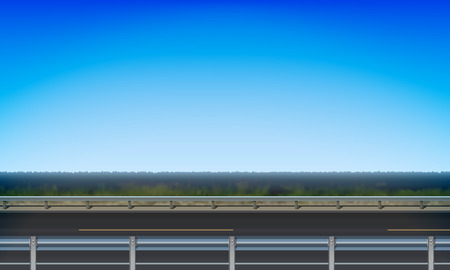 Side view of a road with a crash barrier, roadside green meadow and clear blue sky background, vector illustration