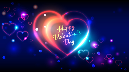 Happy valentines day vector greeting cards, bright multi-colored neon heart shape on blue bokeh background Vectores