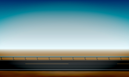 Side view of a road with a crash barrier, roadside, straight horizon desert and clear blue sky background, vector illustration Stok Fotoğraf - 121170299