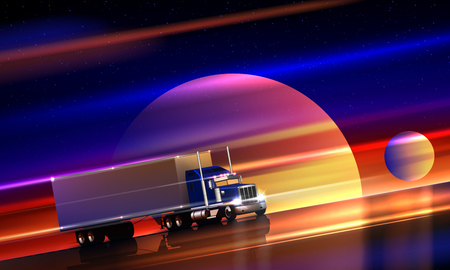 Truck rides on the highway in space. Classic big rig semi truck with dry van on the night road on a colorful cosmic background of the starry sky. Interplanetary interstellar space transportation, vector illustration
