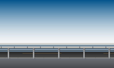 Side view of the road, overpass, bridge with a crash barrier, roadside, clear blue sky background, vector illustration
