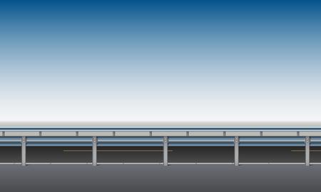 Vista lateral de la carretera, paso elevado, puente con una barrera protectora, borde de la carretera, fondo de cielo azul claro, ilustración vectorial