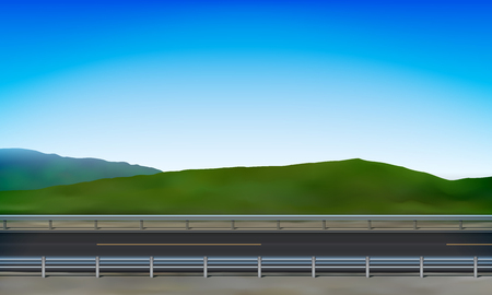 Roadside view with a crash barrier, road, green nature and clear blue sky background, vector illustration