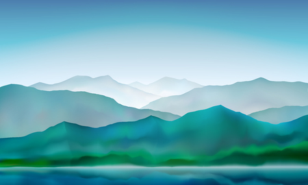 Mountain lake peaceful landscape, misty calm natural background. Blue mountain and hills landscape. Vector illustration.