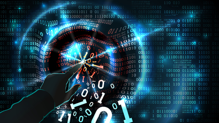 Hacker hand touches binary code and hacks abstract database, firewall, social network account, computer internet server, theft of data. Binary code abstract background, vector Illustration