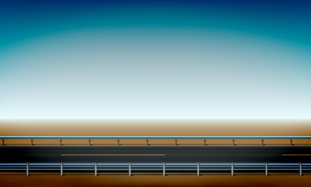 Roadside view with a crash barrier, straight horizon desert and clear blue sky background, road, vector illustration