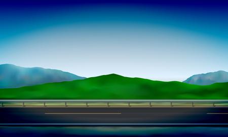 Vista laterale di una strada con una barriera di sicurezza, il bordo della strada, il prato verde sulle colline e lo sfondo del cielo azzurro, illustrazione vettoriale