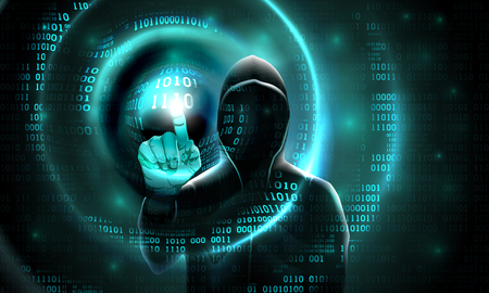 Computer hacker with a hood touches the touch screen binary code. Light waves on abstract binary software dark background hacker silhouette. Hacking computer system, database, data theft, vector