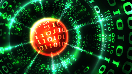 Abstract computer data background matrix binary code, data stream, abstract firewall. Hacking computer system, database, internet server with virus, malicious code. Vector illustration