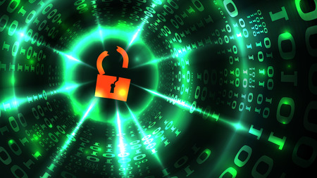 Hacking computer system, database, social network account. Hacked lock symbol on abstract computer data background programming binary code, data theft. Vector illustration