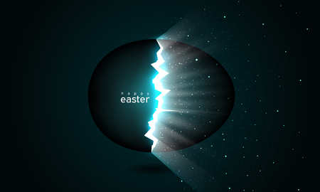 Broken easter egg giving birth to the universe. Rays of light and space with stars from cracks in an easter egg on a dark background. Vector, space for text, creative greeting card design Stock Illustratie