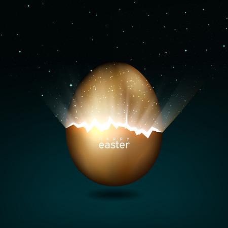 Huevo de pascua dorado roto dando a luz al universo. Rayos de luz y estrellas de grietas en un huevo de pascua de oro sobre un fondo oscuro. Vector, diseño creativo de tarjetas de felicitación
