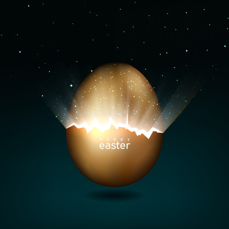 Oeuf de Pâques doré cassé donnant naissance à l'univers. Rayons de lumière et étoiles provenant de fissures dans un œuf de Pâques en or sur fond sombre. Vecteur, conception de carte de voeux créative