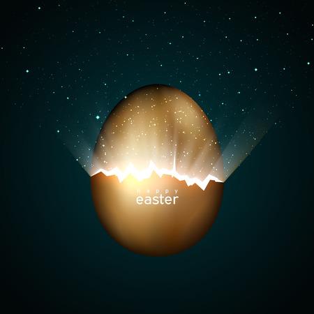 Złamane złote jajko wielkanocne rodzące wszechświat. Promienie światła i gwiazdy z pęknięć w złotym jajku wielkanocnym na ciemnym tle. Wektor, kreatywny projekt kartki z życzeniami