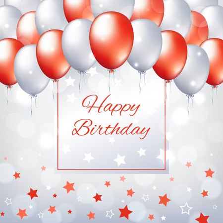 Happy birthday card with red and white balloons. Holiday party background with frame for text. Red and pearl balloons on a light gray background with bokeh and stars. Vector greeting card Banque d'images - 123138664