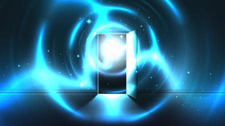 Tunnel di luce dalla porta aperta della stanza buia, uscita incandescente paranormale mistica astratta. Luce alla fine di un tunnel. Portale per un altro mondo, universo alieno. Modello di porta aperta, sfondo di fantascienza