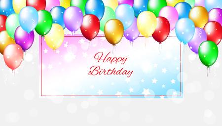 Heller Hintergrund der Feiertagsparty mit bunten Luftballons. Mehrfarbige Ballons auf hellem Bokeh-Hintergrund. Alles Gute zum Geburtstagskarte mit Rahmen für Text. Vektor-Grußkarte Vektorgrafik
