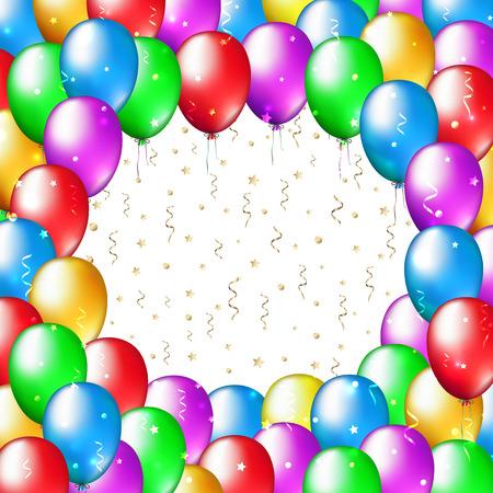 Marco de globos multicolores sobre fondo blanco con lugar para el texto. Decoración de globos para celebración y fiesta. Fondo de felices fiestas con globos de colores. Tarjeta de felicitación de vector