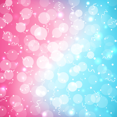 Pastel baby bokeh festive colorful background in beautiful cute style. Abstract blurred blue pink background with sparkles and serpentine. Copy space, place for text